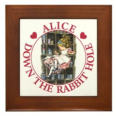 Alice Down the Rabbit Hole Framed Tile