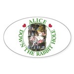 Alice Down the Rabbit Hole Sticker (Oval)
