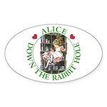 Alice Down the Rabbit Hole Sticker (Oval 50 pk)