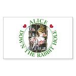 Alice Down the Rabbit Hole Sticker (Rectangle 50 p