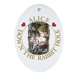 Alice Down the Rabbit Hole Ornament (Oval)