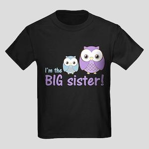 Big Sister Owl Purple/Blue Kids Dark T-Shirt