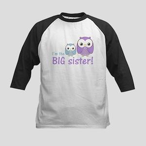 Big Sister Owl Purple/Blue Kids Baseball Jersey