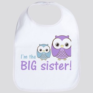 Big Sister Owl Purple/Blue Bib