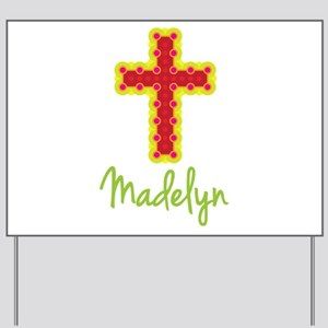 Madelyn Bubble Cross Yard Sign