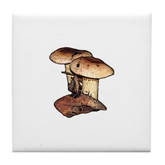 Brown Mushroom Art Tile Coaster #2