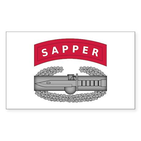 Combat Action Badge w Sapper Tab Sticker (Rectangl