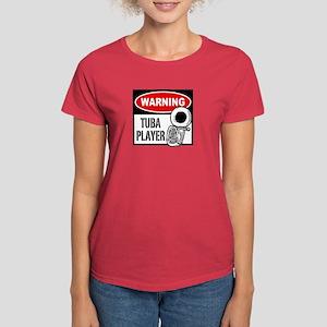 Warning Tuba Player Women's Dark T-Shirt