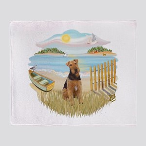Rowboat - Airedale #1 Throw Blanket