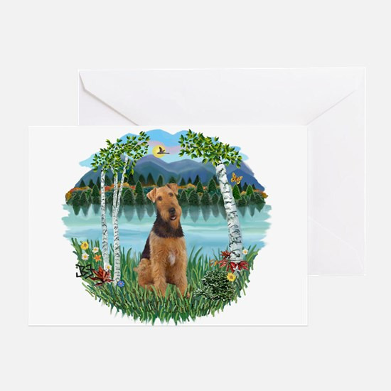 Birches / Airedale #1 Greeting Card