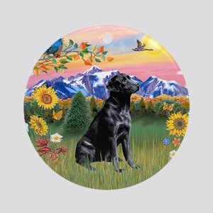 Mt Country-Black Lab# Ornament (Round)