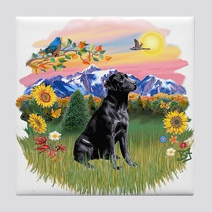 Mt Country-Black Lab# Tile Coaster