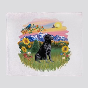 Mt Country-Black Lab# Throw Blanket