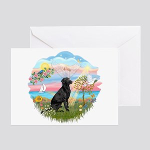 Angel Star - black Lab #3 Greeting Card