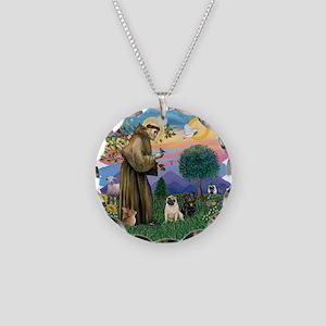 Woodland Magic-2 Pugs (B+F) Necklace Circle Charm