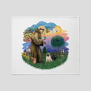 Woodland Magic-2 Pugs (B+F) Throw Blanket