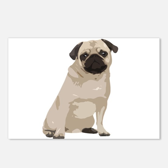Cartoon Pug Postcards (Package of 8)