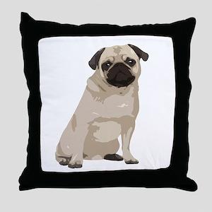 Cartoon Pug Throw Pillow