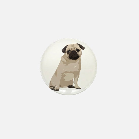 Cartoon Pug Mini Button