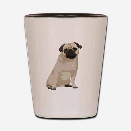 Cartoon Pug Shot Glass