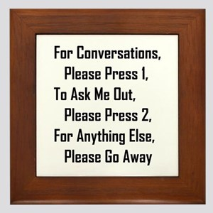 To Ask Me Out, Please Press 2 Framed Tile
