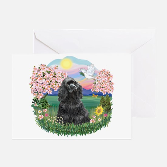 Blossoms-Black Cocker Greeting Card
