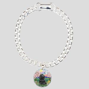 Blossoms-Black Cocker Charm Bracelet, One Charm