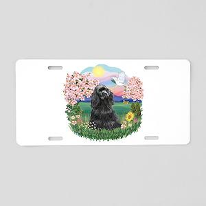 Blossoms-Black Cocker Aluminum License Plate