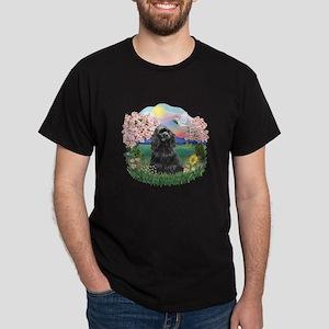 Blossoms-Black Cocker Dark T-Shirt