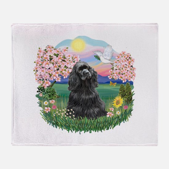Blossoms-Black Cocker Throw Blanket