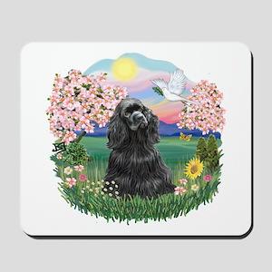 Blossoms-Black Cocker Mousepad