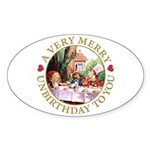 A Very Merry Unbirthday To You Sticker (Oval)