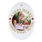 A Very Merry Unbirthday To You Ornament (Oval)