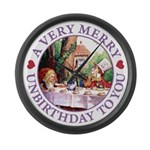 A Very Merry Unbirthday To You Large Wall Clock