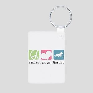 Peace, Love, Horses Aluminum Photo Keychain