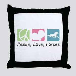 Peace, Love, Horses Throw Pillow