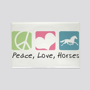 Peace, Love, Horses Rectangle Magnet