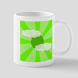 Cloudy Green Rays Mug