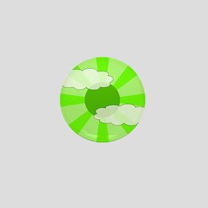 Cloudy Green Rays Mini Button