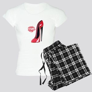 Red Stiletto Shoe and Kiss Women's Light Pajamas