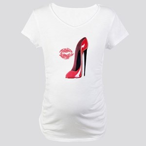Red Stiletto Shoe and Kiss Maternity T-Shirt
