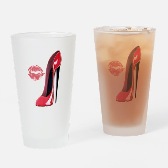 Red Stiletto Shoe and Kiss Drinking Glass