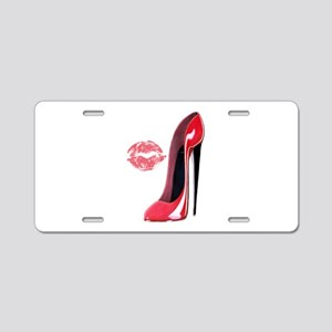 Red Stiletto Shoe and Kiss Aluminum License Plate