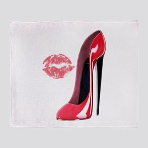Red Stiletto Shoe and Kiss Throw Blanket