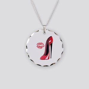 Red Stiletto Shoe and Kiss Necklace Circle Charm