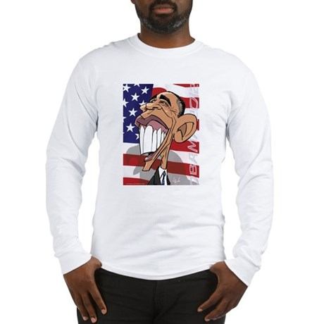 Barack Obama Cartoon Caricatur Long Sleeve T-Shirt