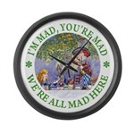 We're All Mad Here Large Wall Clock