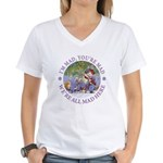 We're All Mad Here Women's V-Neck T-Shirt