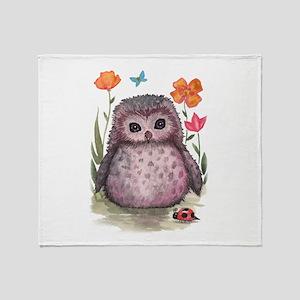 Purple Portly Owlet Throw Blanket