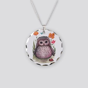 Purple Portly Owlet Necklace Circle Charm
